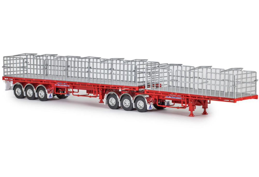 FREIGHTER MaxiTRANS B DOUBLE FLAT TOP TRAILER SET red scale model by Collector Models