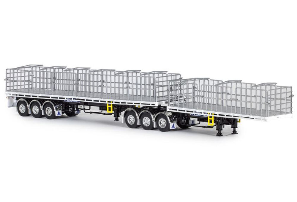 FREIGHTER MaxiTRANS B DOUBLE FLAT TOP TRAILER SET whiteblack scale model by Collector Models