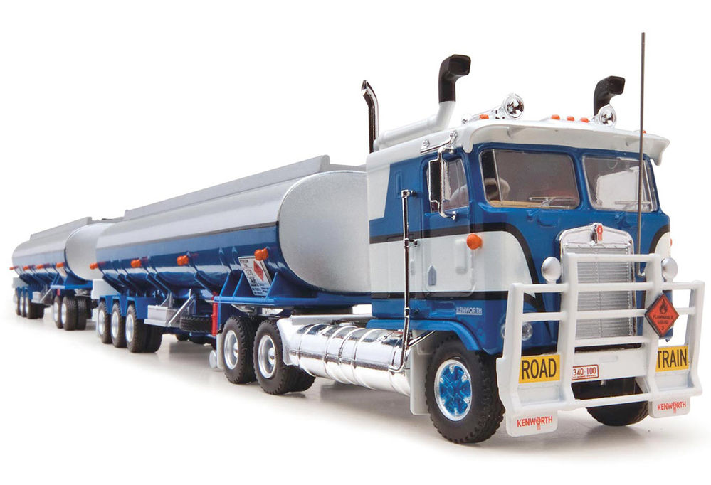 KENWORTH K100 RAOD TRAIN with two FUEL TANKER TRAILERS scale model by Collector Models