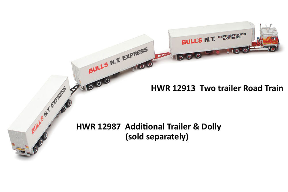 KENWORTH K100 ROAD TRAIN with 2 PANTECH TRAILERS  BULLS NT EXPRESS scale model by Collector Models