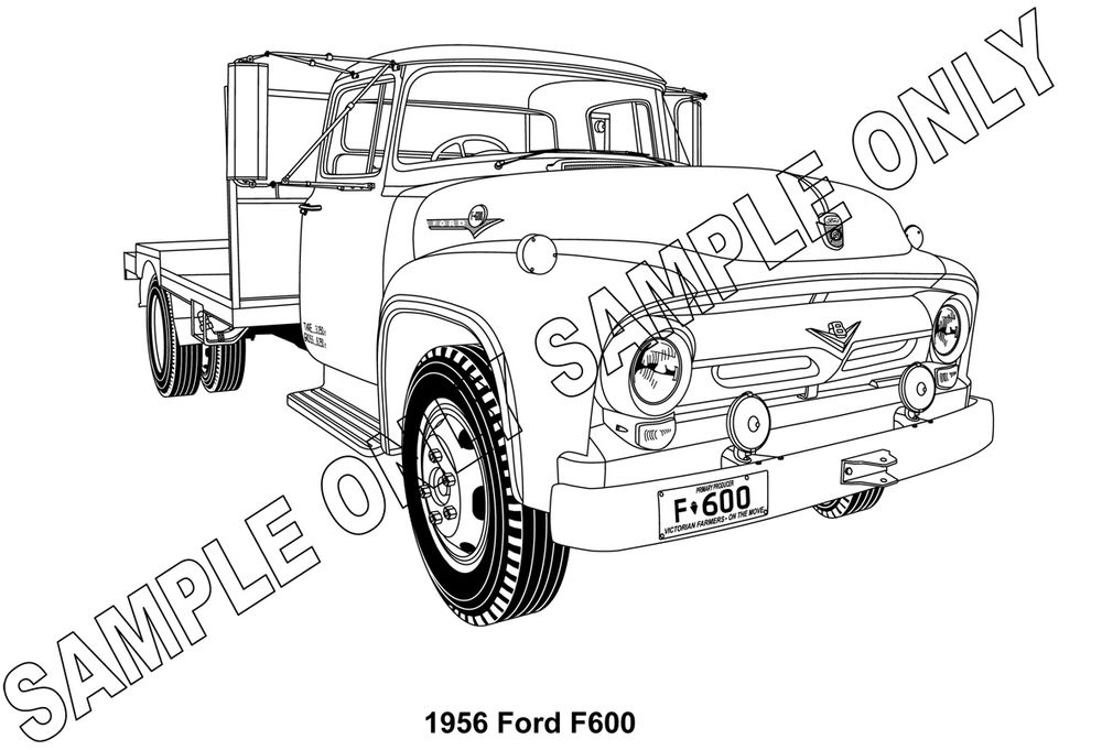 MURRAY PARKER SKETCH mounted   1956 FORD F600 TRUCK scale model by Collector Models