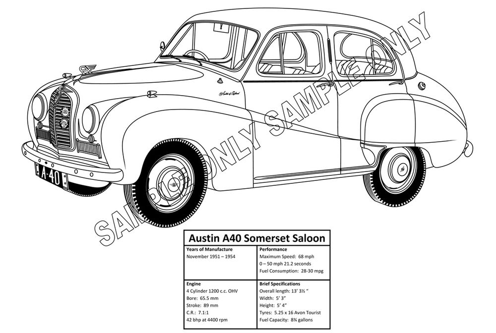 MURRAY PARKER SKETCH mounted   AUSTON A40 SOMERSET SALOON scale model by Collector Models