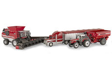 MASSEY FERGUSON 4 Pce GRAIN HARVEST SET: 9795 Header, 8270 Tractor & chaser bin,