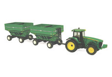 JOHN DEERE 8130 TRACTOR with 2 GRAVITY FEED-OUT TRAILERS (faded box)