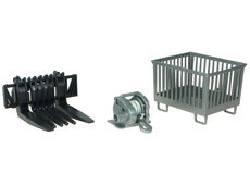 BRUDER ACCESSORIES SET (FORKS, WINCH, BASKET) for BR Tractors