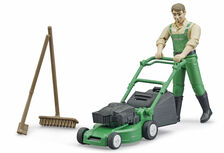 BRUDER Bworld GARDENER with LAWN MOWER, RAKE & BROOM