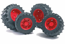 BRUDER CLIP-ON DUAL WHEELS red (set/4) suit Fendt and Claas