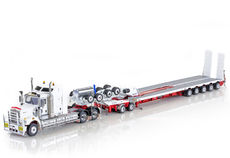 KENWORTH C509 w DRAKE 5 x 8 SWINGWING TRLR & 2 x 8 DOLLY  (white/red, burgundy)