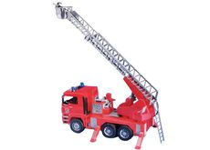 MAN FIRE ENGINE LADDER TRUCK w/ PUMP, LIGHTS, SOUND (shelfworn box)