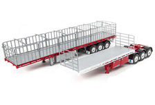 FREIGHTER MaxiTRANS B-DOUBLE FLAT TOP TRAILER SET (red/silver)