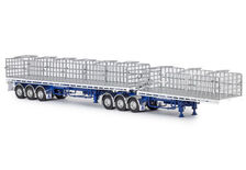 FREIGHTER MaxiTRANS B-DOUBLE FLAT TOP TRAILER SET (white/blue)