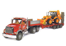 MACK GRANITE LOW LOADER TRUCK with JCB 4CX BACKHOE