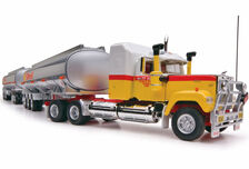MACK SUPERLINER FUEL TANKER ROAD TRAIN with 2 TRAILERS  SHELL livery