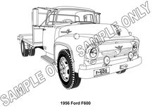 MURRAY PARKER SKETCH (mounted) - 1956 FORD F600 TRUCK
