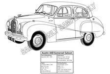 MURRAY PARKER SKETCH (mounted) - AUSTON A40 SOMERSET SALOON