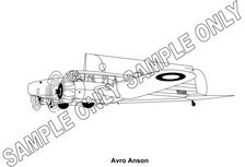 MURRAY PARKER SKETCH (mounted) - AVRO ANSON AEROPLANE