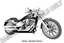 MURRAY PARKER SKETCH (mounted) - HARLEY DAVIDSON MOTORCYCLE