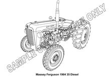 MURRAY PARKER SKETCH (mounted) - MASSEY FERGUSON 35 DIESEL