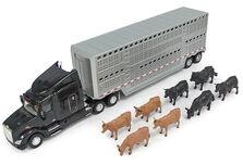 PETERBILT 579 SEMI TRAILER CATTLE TRUCK with 6 COWS & 2 BULLS