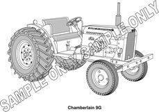 MURRAY PARKER SKETCH (mounted)  1958-59 CHAMBERLAIN CHAMPION 9G TRACTOR