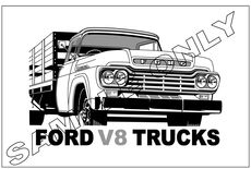 MURRAY PARKER SKETCH (mounted)  1959 FORD V8 TRUCK