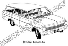 MURRAY PARKER SKETCH (mounted)  1963-64 EH HOLDEN STATION WAGON