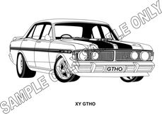 MURRAY PARKER SKETCH (mounted)  1970-72 FORD FALCON XY GT