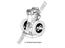 MURRAY PARKER SKETCH (mounted) - BAMFORD 3 1/2 HP DIESEL ENGINE