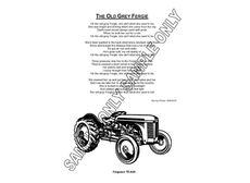 MURRAY PARKER SKETCH (mounted) - FERGY TRACTOR with POEM