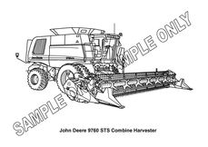 MURRAY PARKER SKETCH (mounted)  JOHN DEERE 9760 STS HEADER
