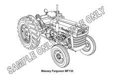 MURRAY PARKER SKETCH (mounted) - MASSEY FERGUSON 135 TRACTOR