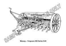 MURRAY PARKER SKETCH (mounted) - MASSEY FERGUSON 500 SEED DRILL