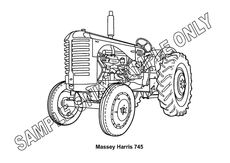 MURRAY PARKER SKETCH (mounted) - MASSEY HARRIS 745 TRACTOR