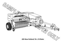 MURRAY PARKER SKETCH (mounted) - NEW HOLLAND 426 SQUARE BALER
