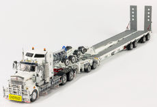 KENWORTH T909 TRUCK w DRAKE 4x8 SWINGWING TRAILER & 2x8 DOLLY (silver)