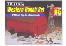 ERTL WESTERN BARN BUILDING SET with ANIMALS & FENCES