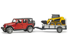 JEEP WRANGLER RUBICON with TRAILER & CAT SKID STEER LOADER