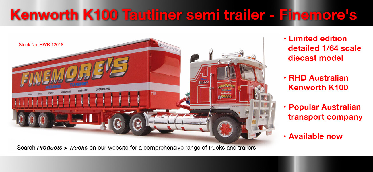 Kenworth K100 with Tautliner trailer in Finemores livery